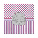 Sleeping Gray Cat Pink Pattern Queen Duvet