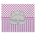 Sleeping Gray Cat Pink Pattern King Duvet