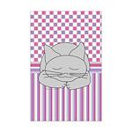 Sleeping Gray Cat Pink Pattern Mini Poster Print