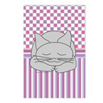 Sleeping Gray Cat Pink Pa Postcards (Package of 8)