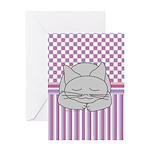 Sleeping Gray Cat Pink Pattern Greeting Card