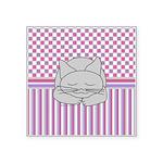 Sleeping Gray Cat Pink Patt Square Sticker 3