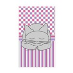 Sleeping Gray Cat Pink Pattern Sticker (Rectangle)