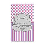 Sleeping Gray Cat Pink Pattern 20x12 Wall Decal