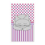 Sleeping Gray Cat Pink Pattern 35x21 Wall Decal