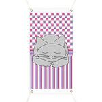 Sleeping Gray Cat Pink Pattern Banner