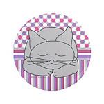 Sleeping Gray Cat Pink Patt 3.5