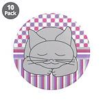 Sleeping Gray Cat Pink Patte 3.5