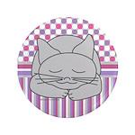 Sleeping Gray Cat Pink Pattern 3.5