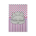Sleeping Gray Cat Pink Rectangle Magnet (100 pack)