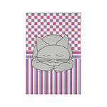 Sleeping Gray Cat Pink Pattern Rectangle Magnet