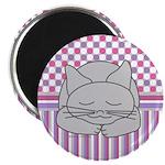 Sleeping Gray Cat Pink Pattern Magnet