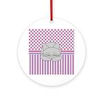 Sleeping Gray Cat Pink Pattern Ornament (Round)