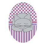 Sleeping Gray Cat Pink Pattern Ornament (Oval)
