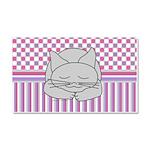 Sleeping Gray Cat Pink Pattern Car Magnet 20 x 12