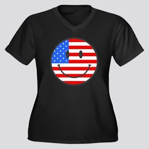 4th Of July Happy Smile Women's Plus Size V-Neck D