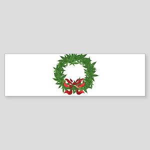 cannabis christmas wreath Bumper Sticker