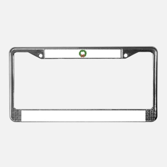 cannabis christmas wreath License Plate Frame