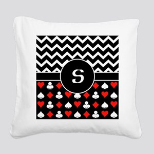 Chevron Poker Custom Monogram Square Canvas Pillow