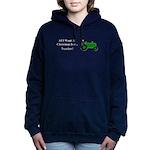 Green Christmas Tractor Women's Hooded Sweatshirt