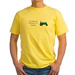 Green Christmas Tractor Yellow T-Shirt
