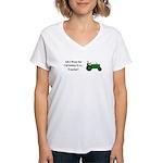 Green Christmas Tractor Women's V-Neck T-Shirt