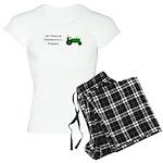 Green Christmas Tractor Women's Light Pajamas