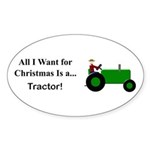 Green Christmas Tractor Sticker (Oval 10 pk)