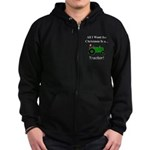 Green Christmas Tractor Zip Hoodie (dark)
