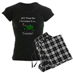 Green Christmas Tractor Women's Dark Pajamas