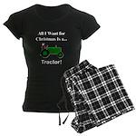 Green Christmas Tractor Women's Dark Pajamas