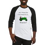 Green Christmas Tractor Baseball Jersey