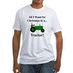 Green Christmas Tractor Fitted T-Shirt