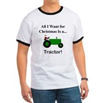 Green Christmas Tractor Ringer T