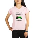 Green Christmas Tractor Performance Dry T-Shirt