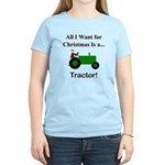 Green Christmas Tractor Women's Light T-Shirt