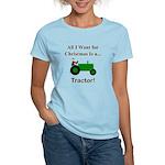 Green Christmas Tractor Women's Light T-Shirt