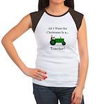 Green Christmas Tractor Women's Cap Sleeve T-Shirt