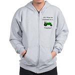 Green Christmas Tractor Zip Hoodie