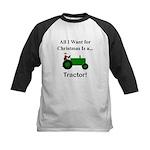 Green Christmas Tractor Kids Baseball Jersey