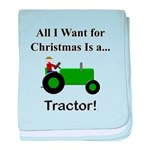 Green Christmas Tractor baby blanket