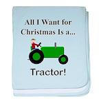 Green Christmas Tractor baby blanket