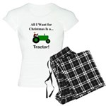 Green Christmas Tractor Women's Light Pajamas