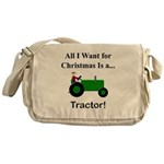 Green Christmas Tractor Messenger Bag