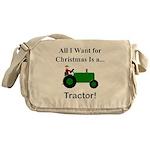 Green Christmas Tractor Messenger Bag