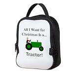 Green Christmas Tractor Neoprene Lunch Bag