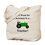 Green Christmas Tractor Tote Bag