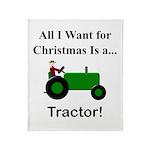 Green Christmas Tractor Throw Blanket