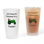 Green Christmas Tractor Drinking Glass