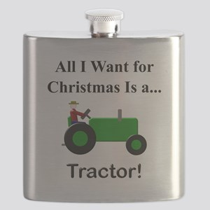 Green Christmas Tractor Flask